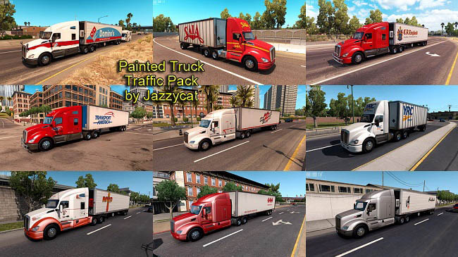 Painted Truck Traffic Pack v2.3 для American Truck Simulator